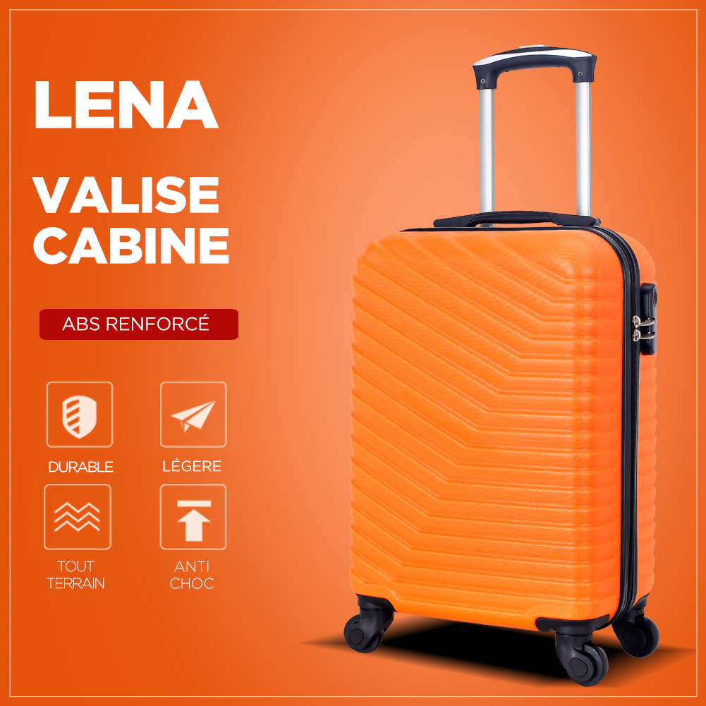 VALISE CABINE | ABS – 50cm – 4 roues – LENA-E – CORAIL